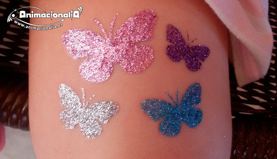 Tatuajes de purpurina. Tattoo Glitter. Animacionalia Málaga.