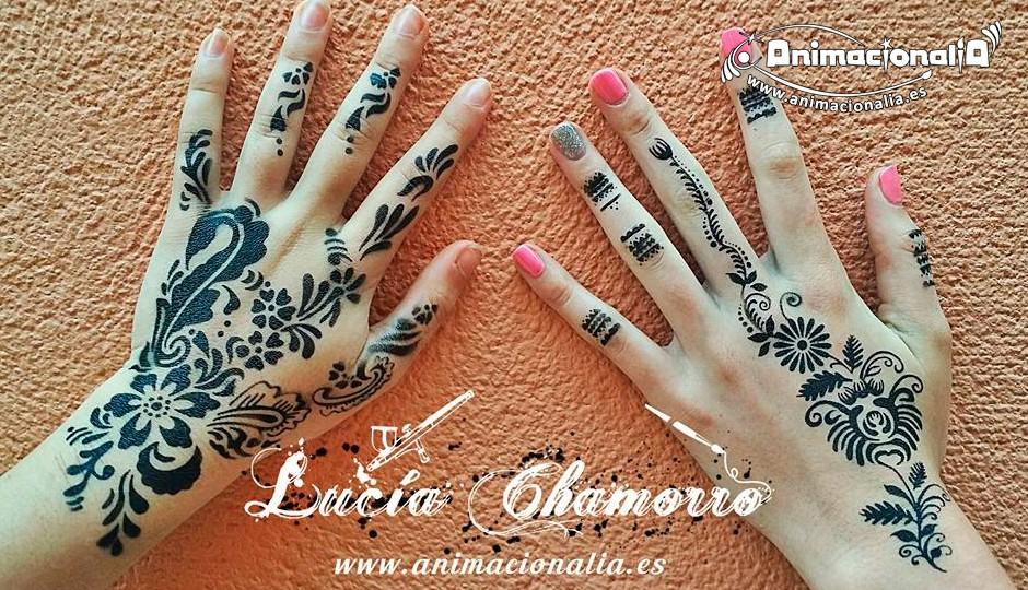 Airbrush tattoo. Tatuaje de aerógrafo. Tatuaje semipermanente. Body tattoo. Animacionalia Málaga. Henna tattoos.